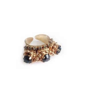 BCBGENERATION RING GOLD TONED BLACK FAUX DIAMOND